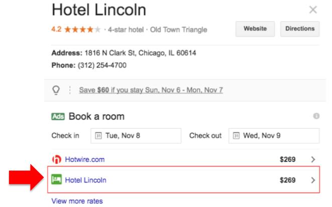 Web Hotel en Google Hotel Ads