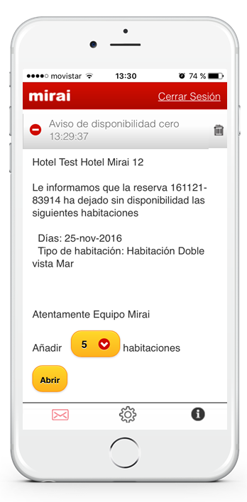 App Mirai - añadir dispo